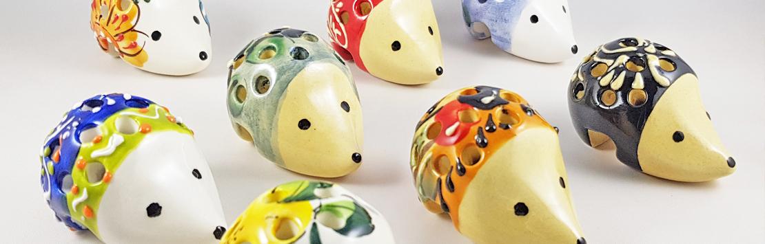 Ceramic hedgehog for cocktail sticks
